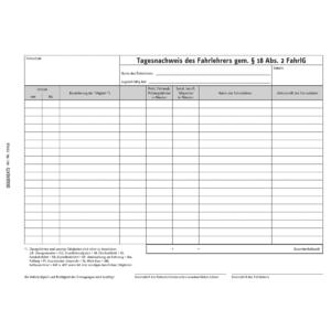 Arbeitszeitnachweis für Fahrlehrer (DIN A5, Block mit 50 Blatt)-0