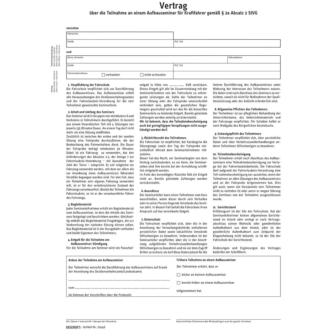 Vertrag Teilnahmebescheinigung Asf Packungseinheit Mit 25