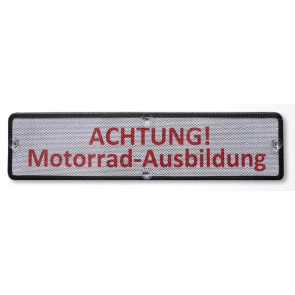 M6963-Heckscheiben-Saugschild-Achtung-Motorrad-Ausbildung
