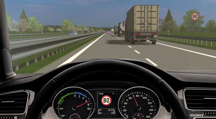 Der intelligente Geschwindigkeitsassistent erkennt nicht nur die Verkehrszeichen, er drosselt direkt das Tempo. © DEGENER