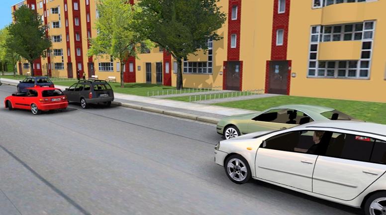 """Frage: Beide Pkw wollen hier parken. Wer hat Vorrang? © argetp21 - Die Lösung unter CLICK & LEARN 360° online, Suche """"2191""""."""