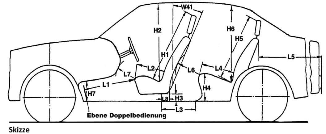 Laut Prüfungsrichtlinie sind in Prüfungsfahrzeugen bestimmte Maße wie Beinfreiheit (L6) und Kopffreiheit (H6) vorgeschrieben.
