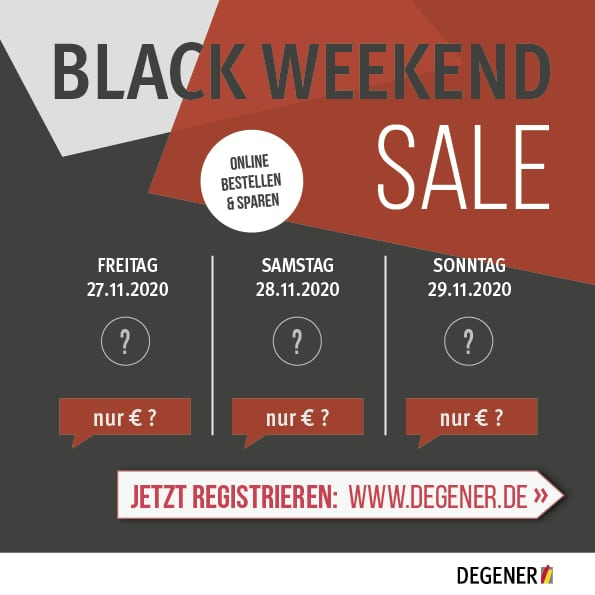 DEGENER BLACK WEEKEND SALE vom 27.11. bis 29.11.2020